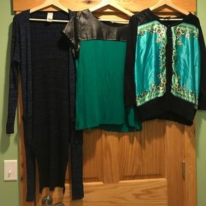 Sweaters - Lot of 3 XL career Pieces including long cardigan